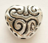 Бусины акриловые в форме сердца 14мм серебристые, 2шт./уп.
