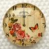 Кабошон стеклянный круглый 20мм с принтом часы цветы с бабочкой, 1шт (код К-25-73)