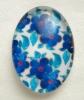 Кабошон стеклянный овальный 18х13мм синие цветы (код К-26-23)