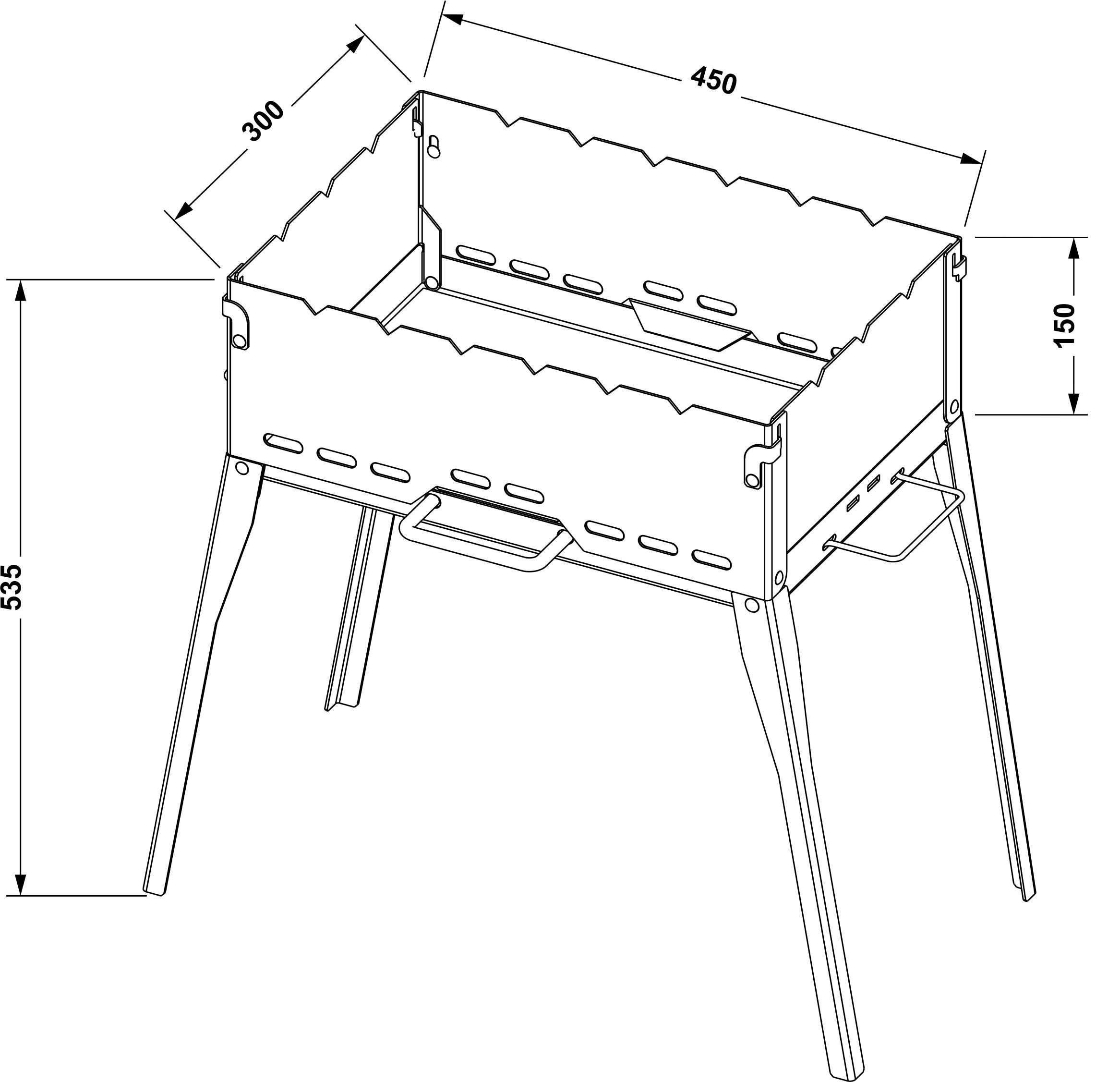 Складной мангал схема и размеры