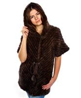 Шуба из вязаной норки с коротким рукавом «Лео»