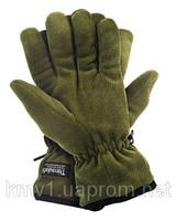 Перчатки флисовые теплые утеплитель Thinsulate черные/олива