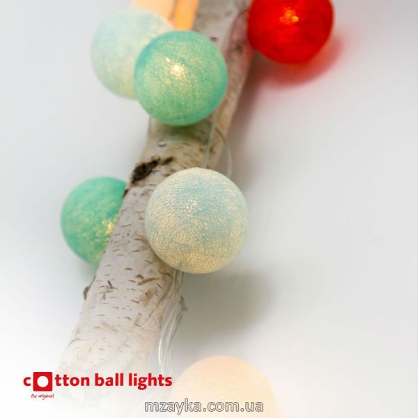 Хлопковая тайская гирлянда Cotton Ball Lights, оригинал, расцветки