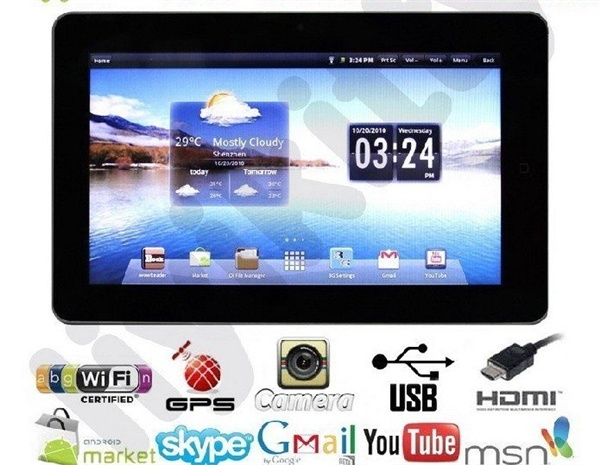 "10,2 ""2,1 Android, Netbook MINI, MID Tablet PC с сенсорным экраном + WIFI +3 G + GPS + камера + HDMI + RJ45."