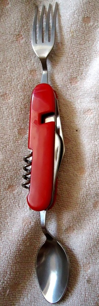 Tourist camp knife with a spoon, fork